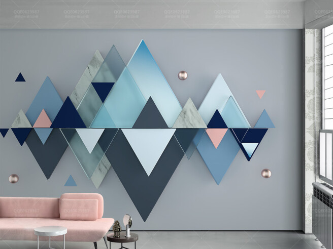 Фотообои Стереоскопический  синиий треугольник