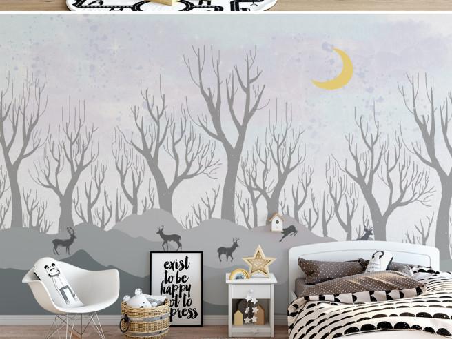 Голые деревья и олени