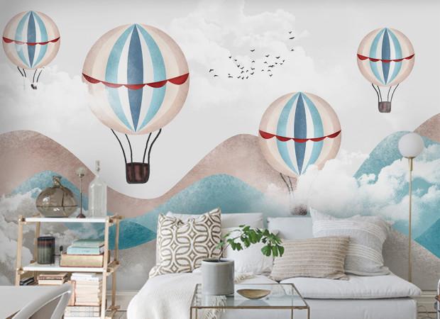 Воздушные шары среди холмов