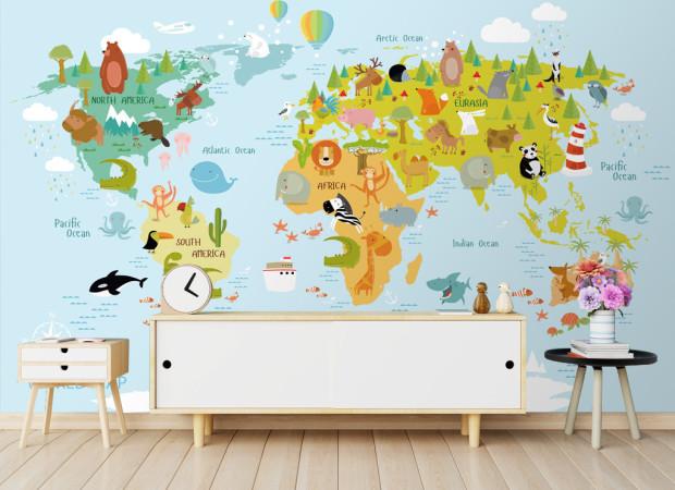 Карта мира и звери на ней