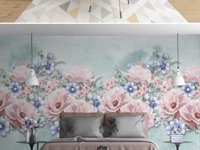 Фотообои Розово голубые цветы