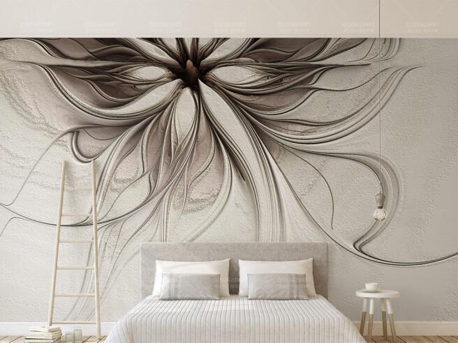 Фотообои Абстрактные цветы рельефные линии