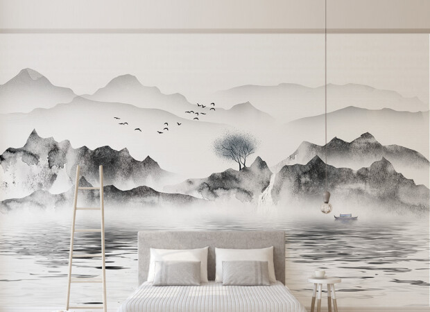 Черно-белые горы в тумане