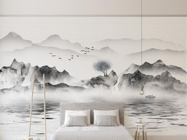 Фотообои Черно-белые горы в тумане