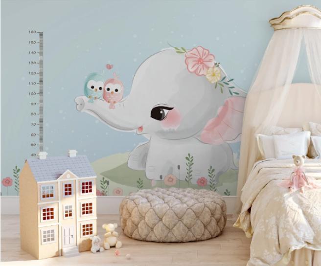 Фотообои слоненок с ростомером