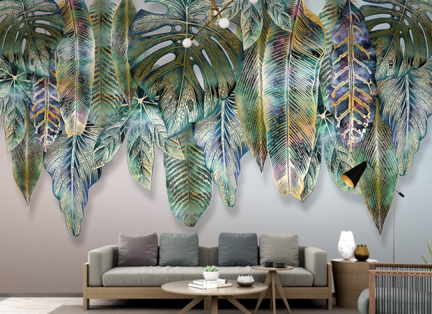Крашенные листья пальм