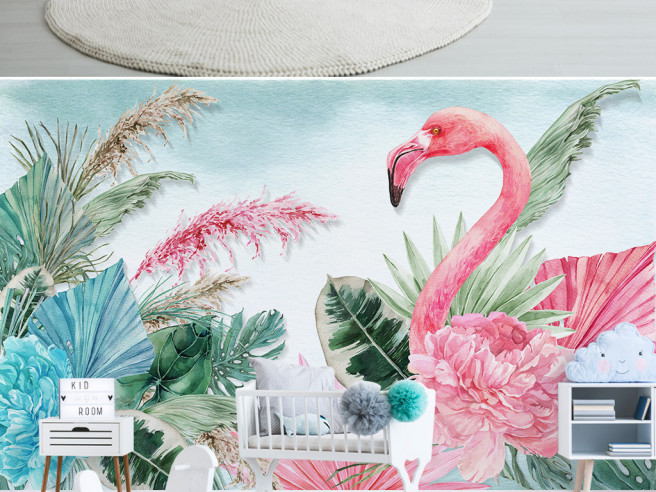Розовый пион и фламинго