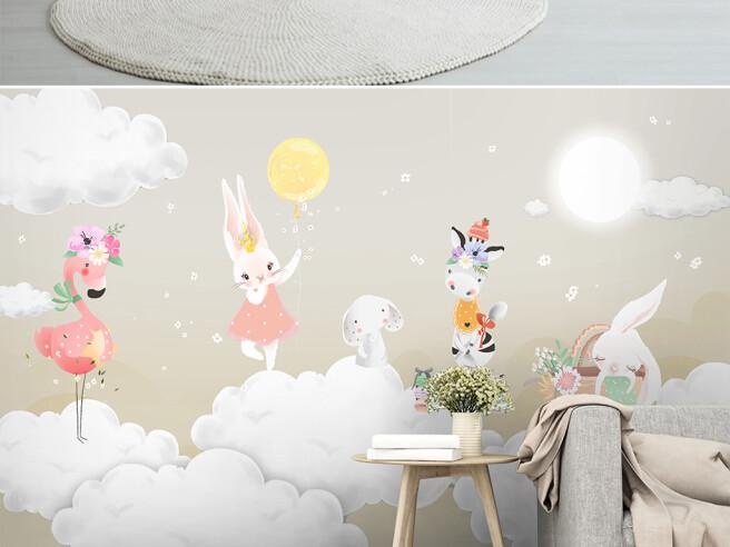 Зайцы и фламинго на облаках