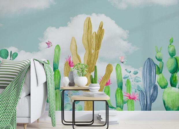 Разноцветные кактусы