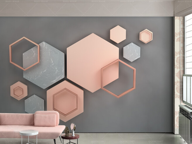Фотообои Трехмерная шестиугольная мозаика