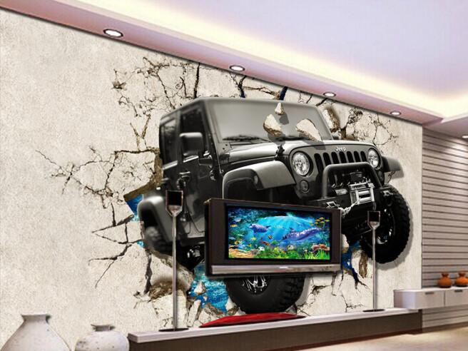 Фотообои Джип пробивает стену