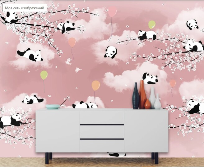 Фотообои панды на облачках
