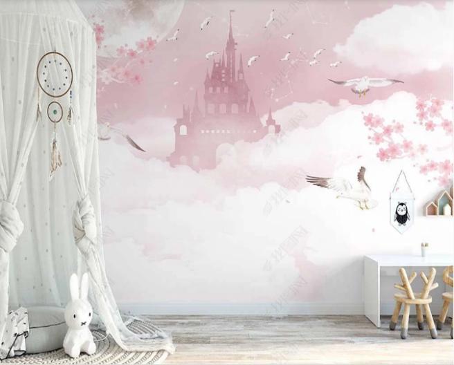 Фотообои сказочный замок с чайками