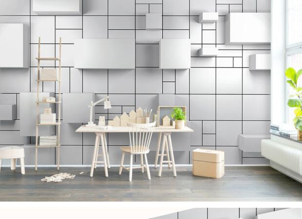 Белая кубическая стена