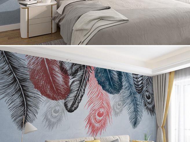 Фотообои Разноцветные перья павлина