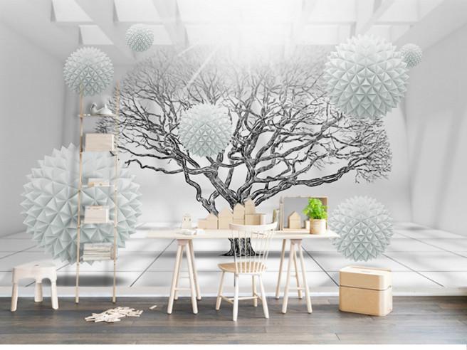 Дерево с белыми шарами