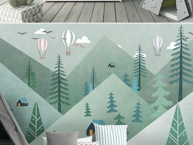 Фотообои Треугольные горы и лес