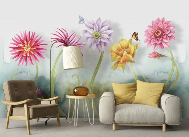 Свежая цветочная акварельная стена