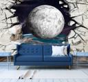 Фотообои планета сквозь стену