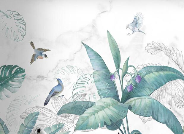 Птицы у цветущей пальмы