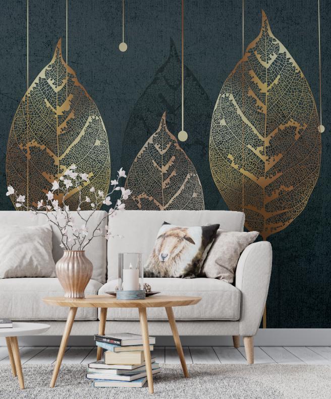 Фотообои листья с золотыми прожилками