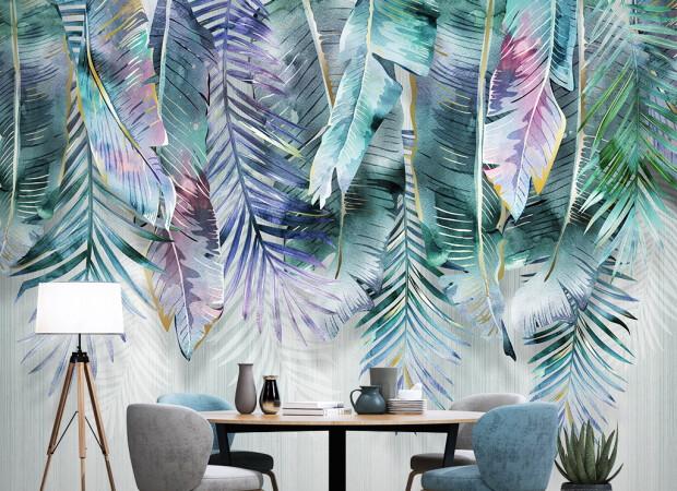 Листья пальмы в краске