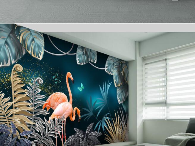 Фламинго в ночных джунглях