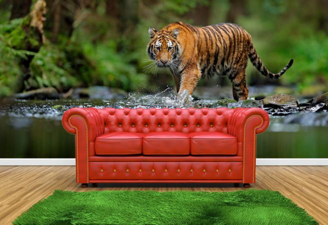 Фотообои тигр в реке