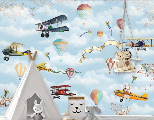 Фотообои самолеты с ленточками и колибри