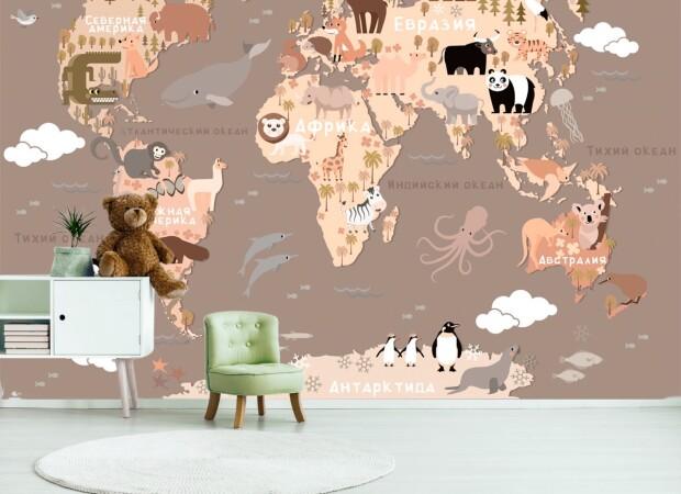 Карта с мультяшными животными