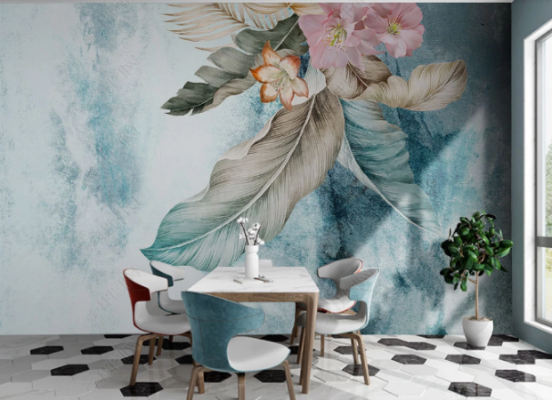 цветок на лофт стене
