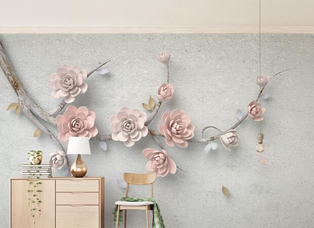 Розовые цветы на ветке