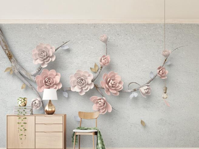 Фотообои Розовые цветы на ветке