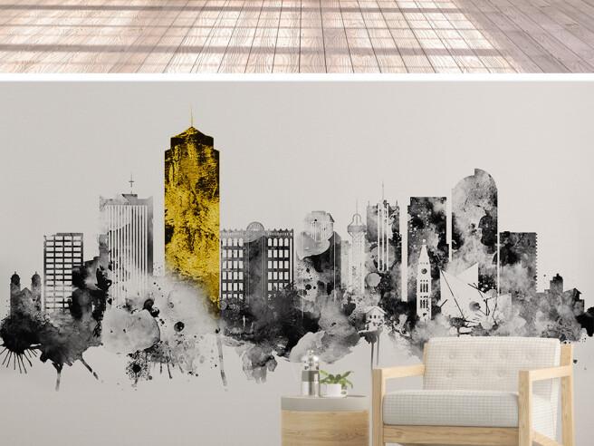 Фотообои Золотое здание в сером мегаполисе