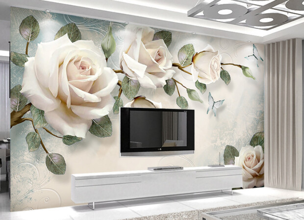 Три белые розы на ветке