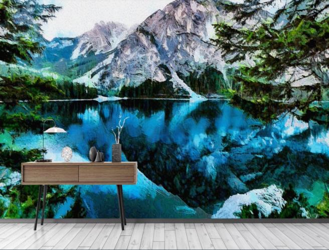 Фотообои горное озеро акварель