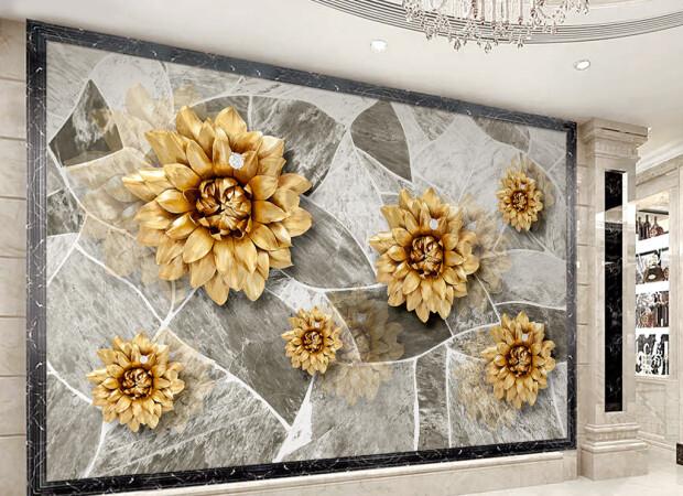 Золотые цветы на гранитной стене