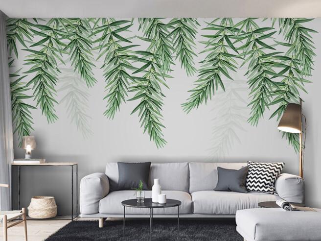 Фотообои Листья ивы на сером фоне