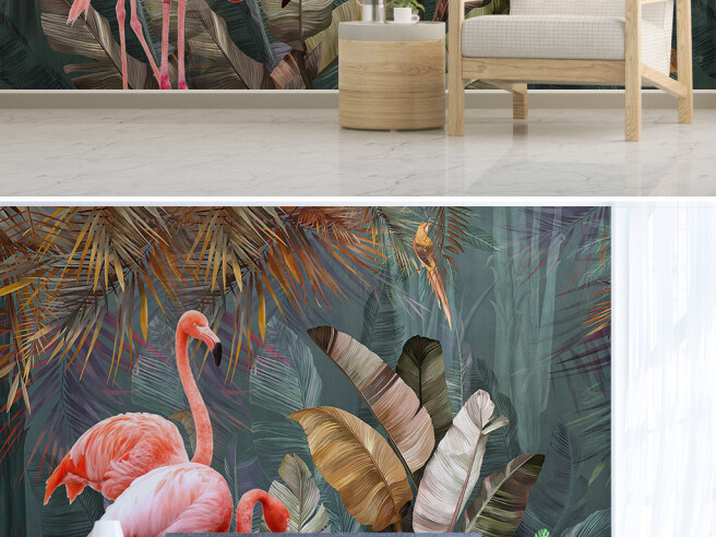 Фотообои Фламинго под пальмой