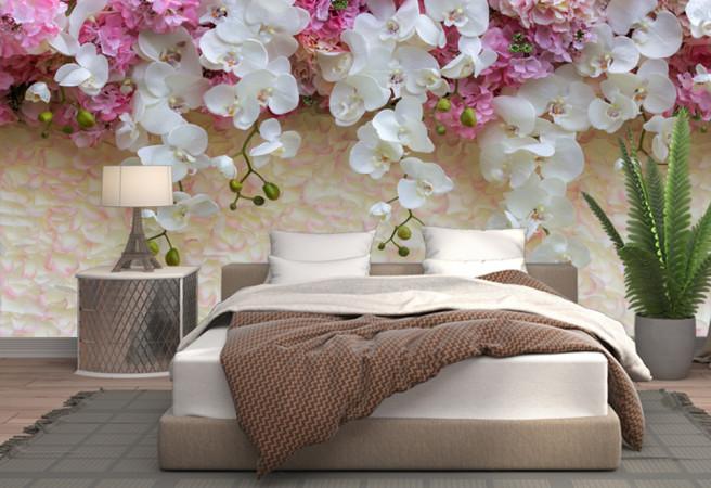 Фотообои орхидеи на стене