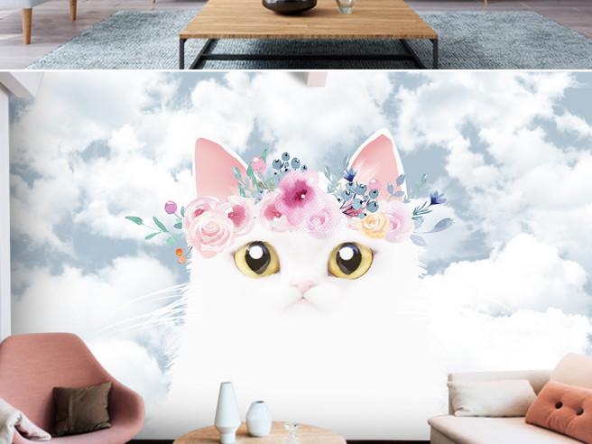 Белая кошка с винком