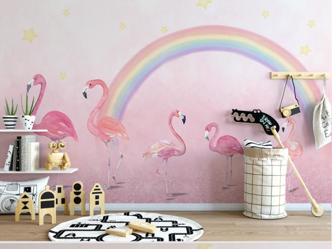 Фотообои Фламинго и радуга