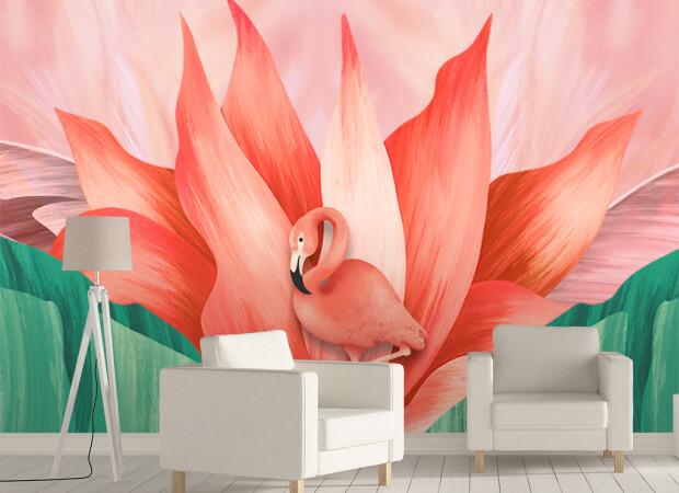 Розовый фламинго и лилия