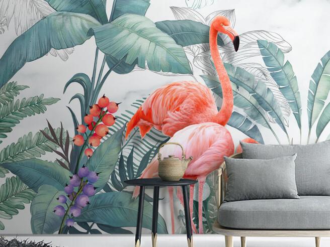 Фотообои Одинокий алый фламинго