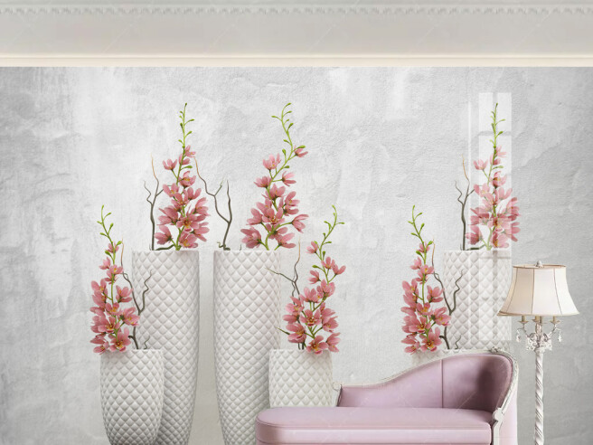 Ветки цветов в вазах