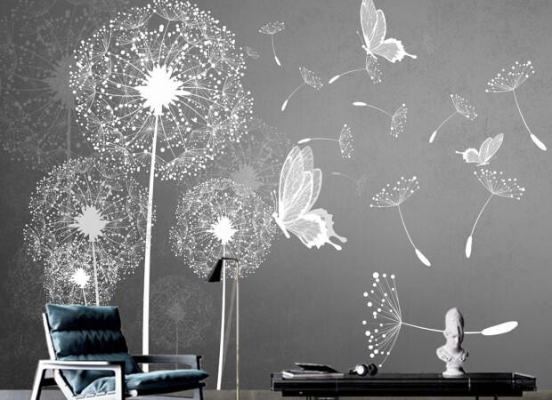 Одуванчик с бабочками