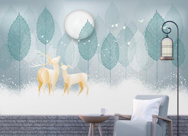 Олени в снегу