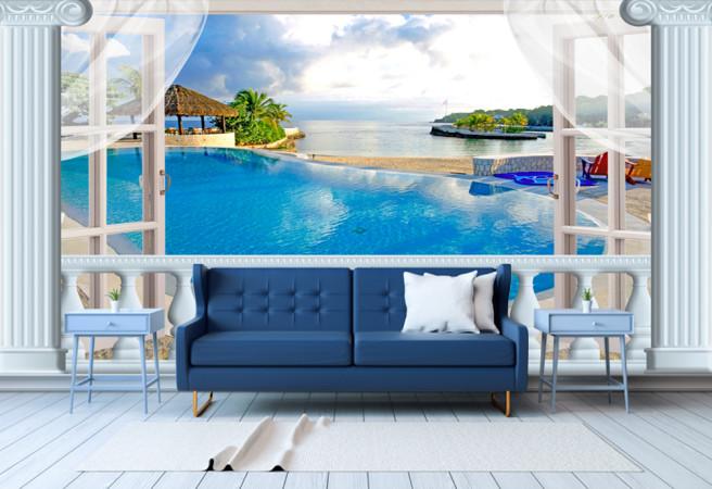 Фотообои окно на острова