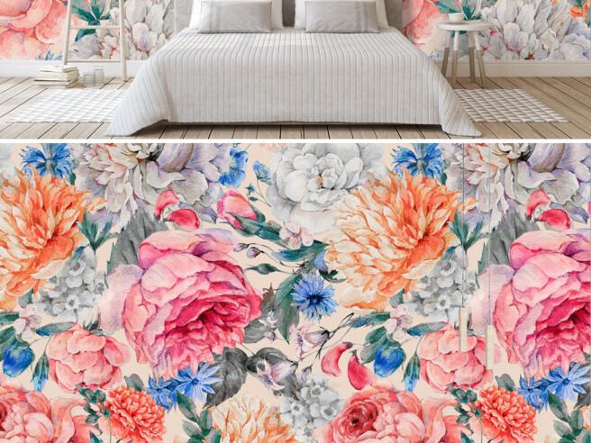 Фотообои Стена из ярких цветов