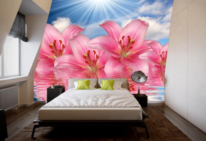 Фотообои малиновые лилии